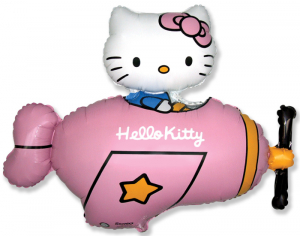 Шар фигура, Хелло Китти в самолете / Hello Kitty Розовый (в упаковке)